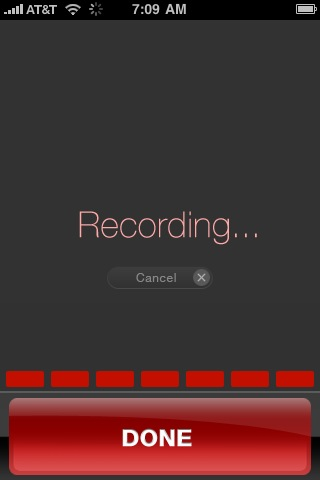 Dragon Dictation Recording Screen
